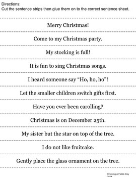 Christmas Holiday Sentence Sort- Cut and Paste