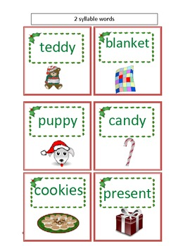 Christmas & Holiday Shopping For Syllables sorting activity and  assessment