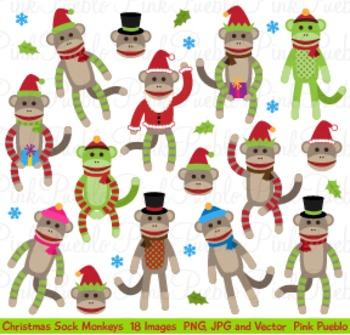 Christmas Holiday Sock Monkeys Clipart Clip Art