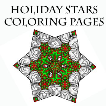 Christmas Holiday Stars Zentangle Mandala Coloring Book Pages