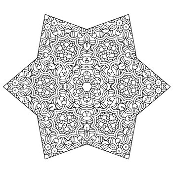 Christmas Holiday Stars Zentangle & Mandala Coloring Book Pages