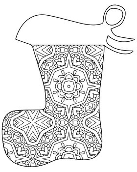 Christmas Holiday Stockings Zentangle Mandala Coloring Book Pages