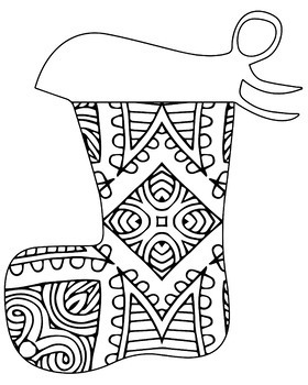 Christmas Holiday Stockings Zentangle & Mandala Coloring Book Pages