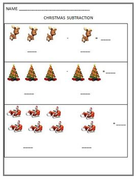 Christmas Holiday Subtraction Activity: Using Pictures to Subtract