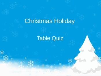 Christmas Holiday Table Quiz - US Spelling