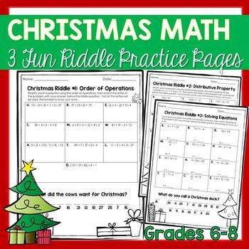 Christmas Math Practice Grades 6 to 8