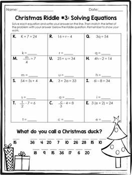 Christmas Math Riddle Practice Grades 6 to 8