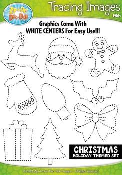 Christmas Holiday Themed Tracing Image Clipart Set — Inclu