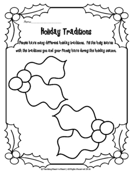Christmas Holiday Traditions Activity