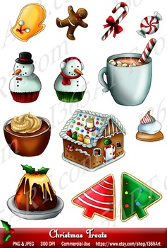 Christmas Holiday Treats Clipart 13 Set Digital Graphics Instant Download