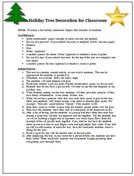 Christmas Holiday Tree Decorations for Classroom Display Activity
