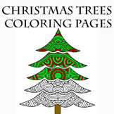 Christmas Holiday Trees Zentangle & Mandala Coloring Pages