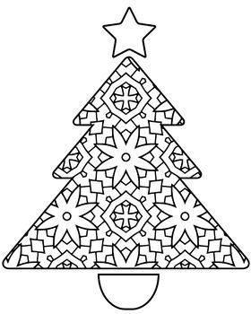 Christmas Holiday Trees Zentangle & Mandala Coloring Pages