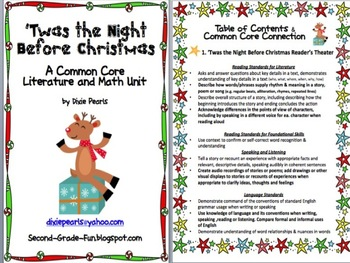 Christmas Holiday Twas the Night Before Christmas Reading and Math