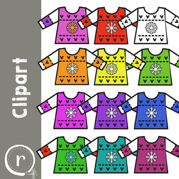 Christmas Holiday Ugly Sweater Clip Art (RDS Clipart)