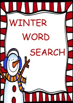 Christmas/Holiday/Winter Word Search Game Activity Sheet
