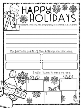 Christmas Holiday Winter Writing Freebie