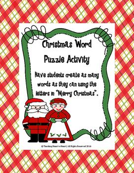 Christmas Holiday Word Bank Activity