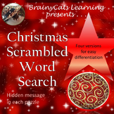 Christmas Holiday Word Scramble Word Search with Hidden Message
