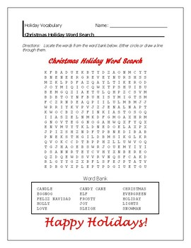 Christmas Holiday Word Search