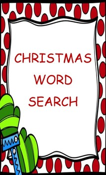 Christmas/Holiday Word Search Game Activity Sheet
