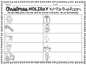 Christmas Holiday Write the Room