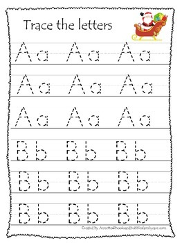 Christmas Holiday themed A-Z tracing preschool educational worksheets.  Daycare.