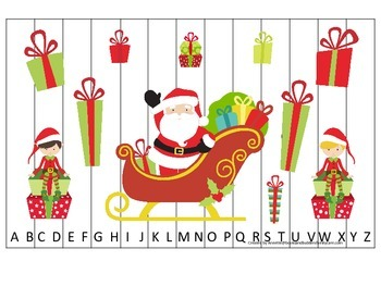 Christmas Holiday themed Alphabet Sequence Puzzle. Preschool Alphabet game.