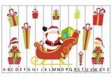 Christmas Holiday themed Alphabet Sequence Puzzle. Preschool Alphabet game.