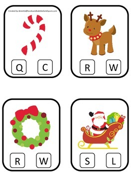 Christmas Holiday themed Beginning Sounds Clip it Cards preschool curriculum gam