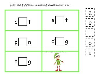 Christmas Holiday themed CVC activity #3.  Preschool and daycare vowels.