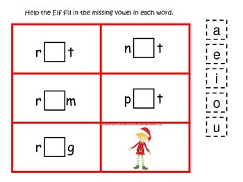 Christmas Holiday themed CVC activity #4.  Preschool and daycare vowels.