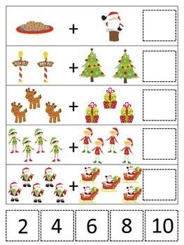 Christmas Holiday themed Math Addition preschool curriculum activity.