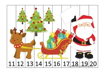 Christmas Holiday themed Number Sequence Puzzle 11-20 preschool activity.