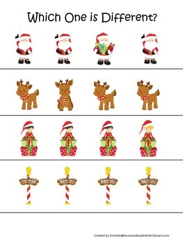 Christmas Holiday themed Which One is Different preschool learning game. Daycare