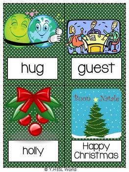 Christmas & Holidays {44 Flashcards & Games} ESL Adults & Grades 4-6