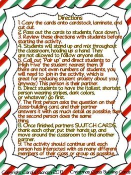 Christmas Holidays Kagan Classbuilding Activity Cards