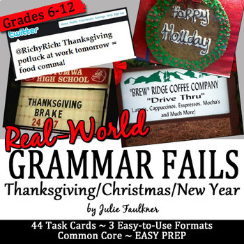 Christmas Holidays Grammar Fails in the Real World, Proofreading Task Cards