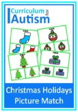 Christmas Holidays Picture Match Autism
