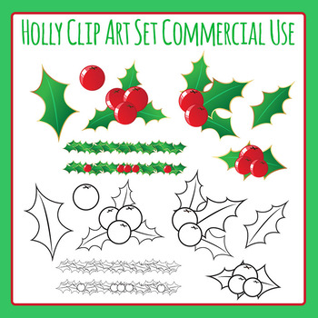 Christmas Holly Clip Art for Commercial Use