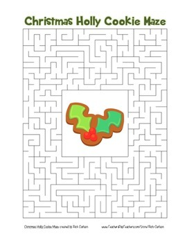 """""""Christmas Holly Cookie"""" Maze! Holiday FUN! (Color and Black Line)"""