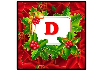 Christmas, Holly, Poinsettias Bulletin Board Letters, Banner, Printable Alphabet