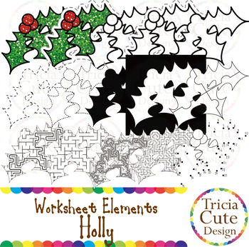 Shadow Clip Art Worksheet Elements for Tracing Cutting Puzzle Maze