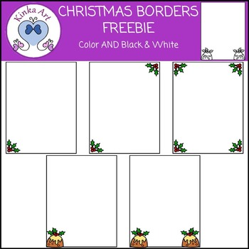 Christmas Holly and Pudding Borders FREEBIE