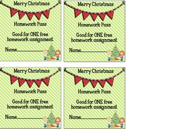 Christmas Homework Pass