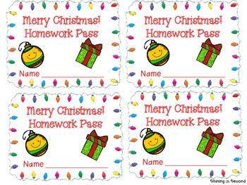 Christmas Homework Pass FREEBIE