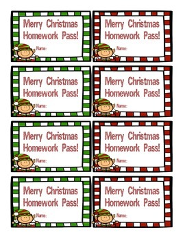 Christmas Homework Pass FREEBIE