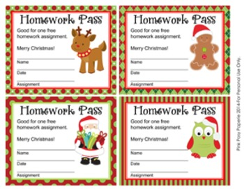 Christmas Homework Passes