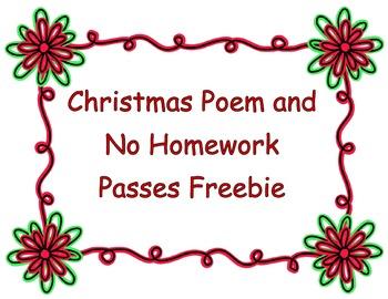Christmas Homework Passes - Freebie