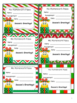 Christmas Homework Passes - Smiles